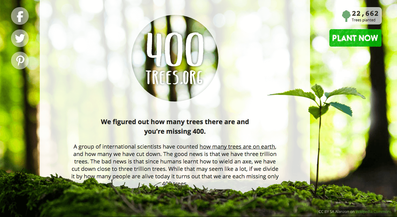 Screenshot of the 400trees.org Website